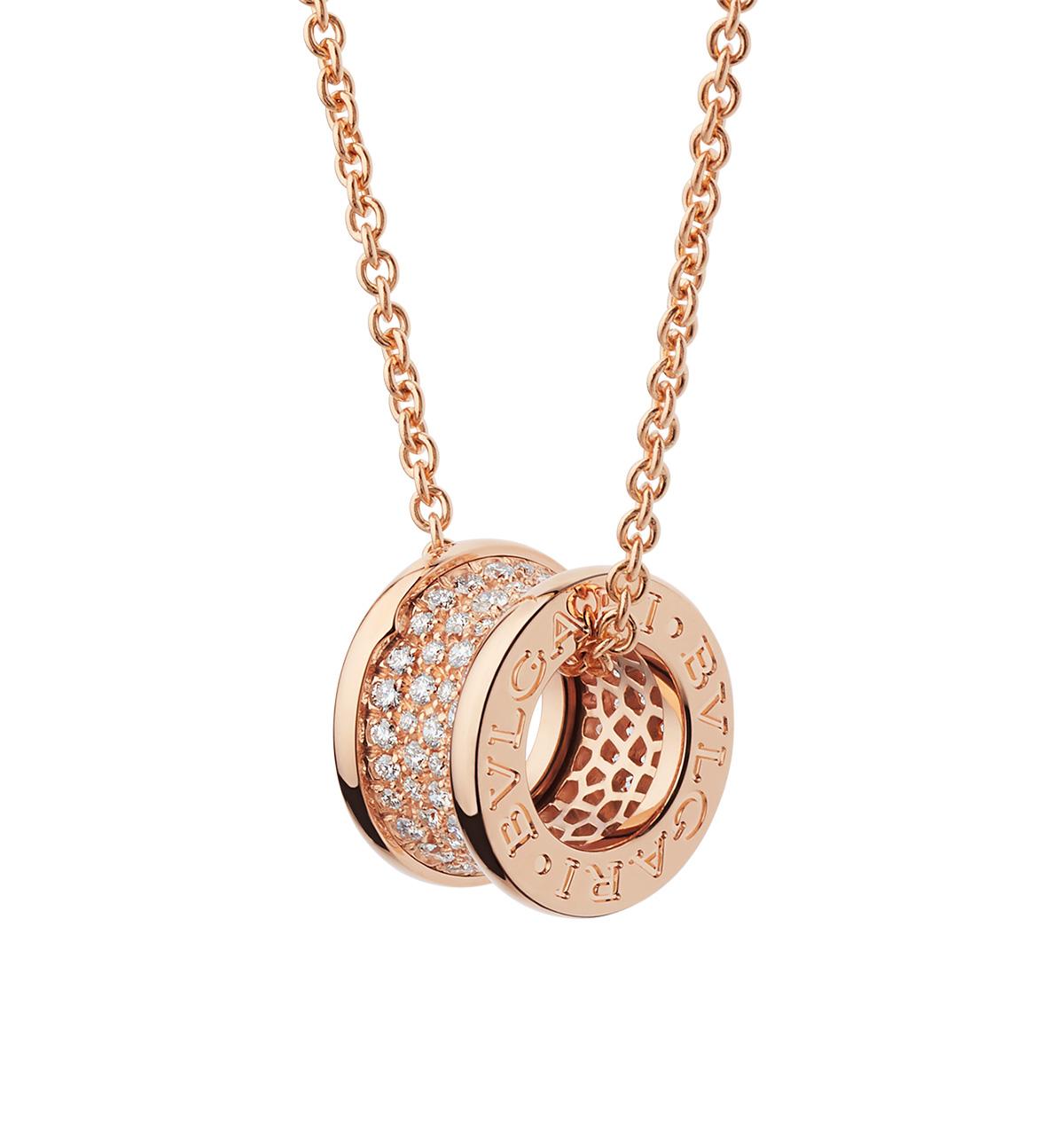 Collar Bulgari B.zero1 con cadena y colgante en oro rosa